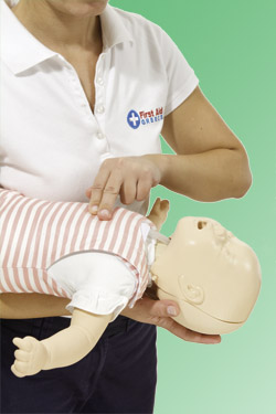Use chest thrusts on a choking baby